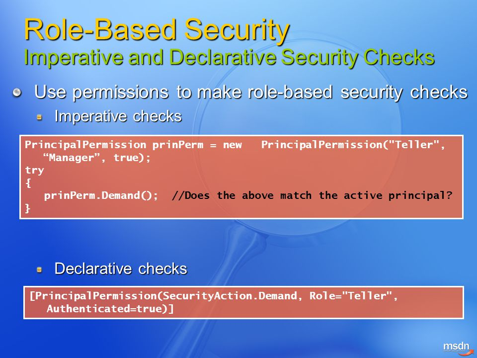 Role-Based Security Imperative and Declarative Security Checks