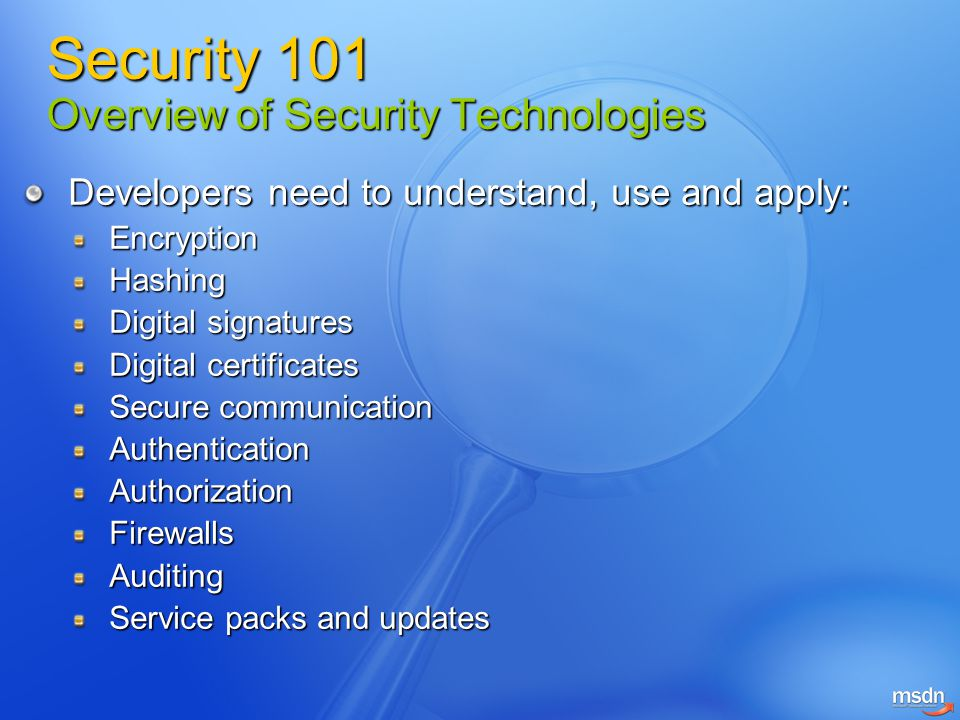 Security 101 Overview of Security Technologies