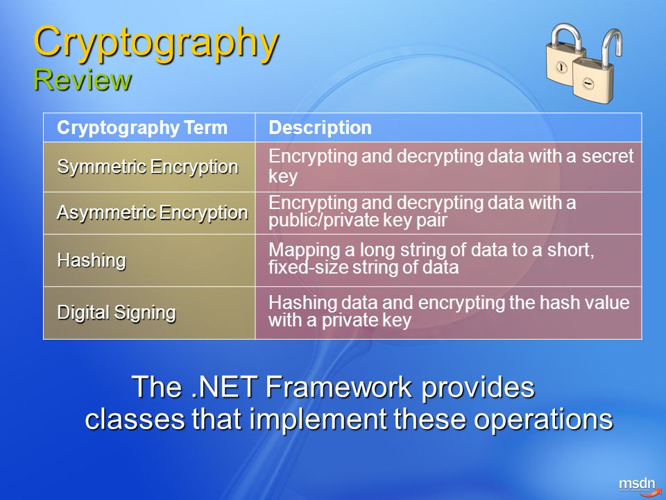 The .NET Framework provides classes that implement these operations