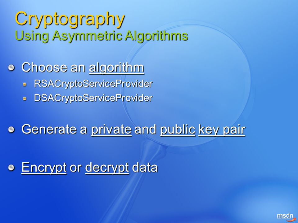 Cryptography Using Asymmetric Algorithms