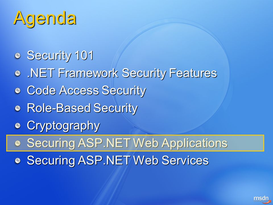 Agenda Security 101 .NET Framework Security Features