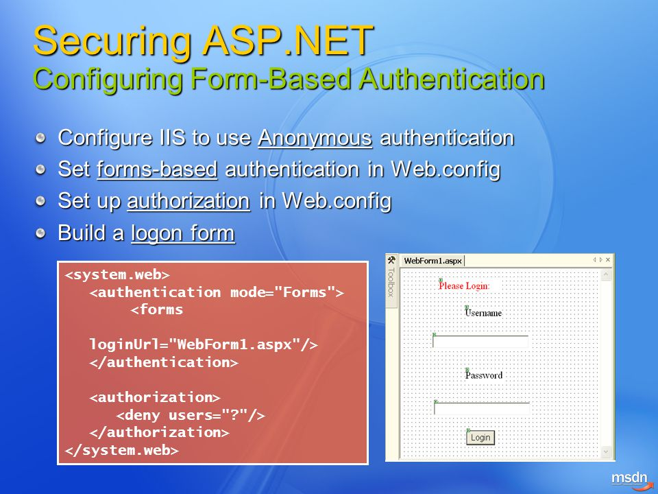 Securing ASP.NET Configuring Form-Based Authentication