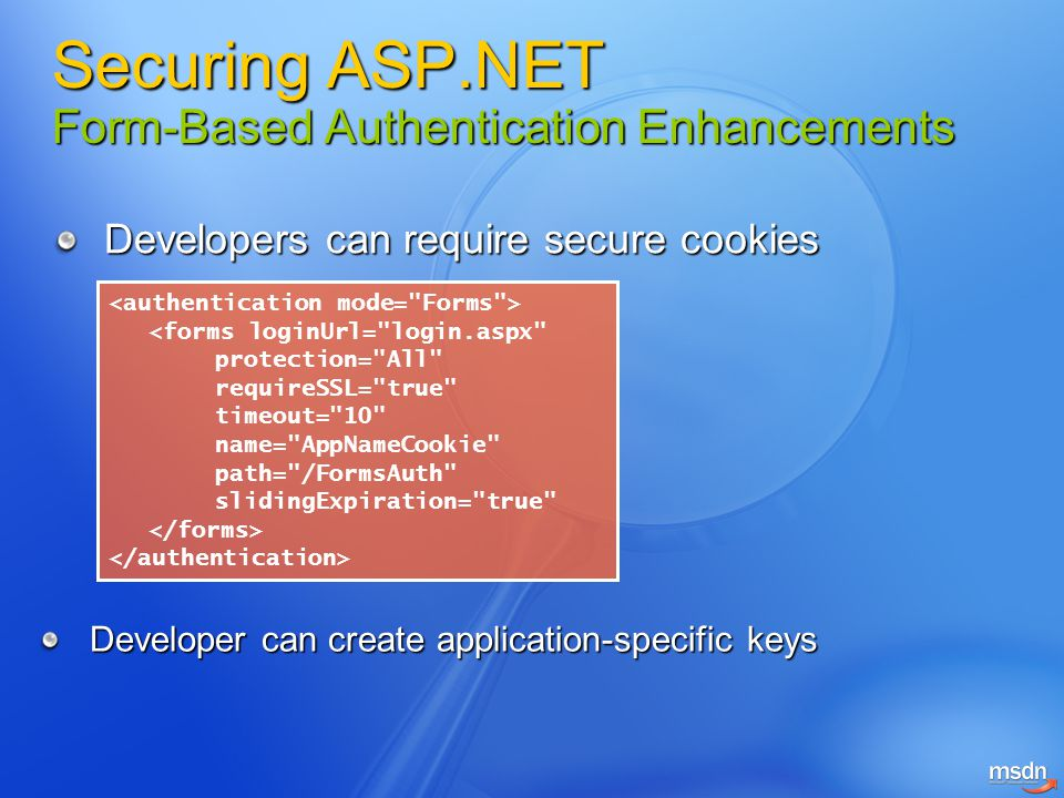 Securing ASP.NET Form-Based Authentication Enhancements