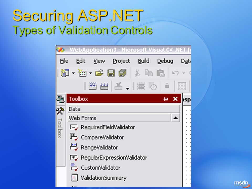 Securing ASP.NET Types of Validation Controls