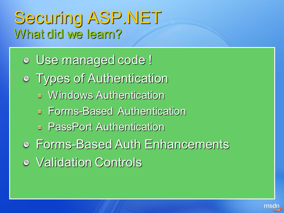 Securing ASP.NET What did we learn