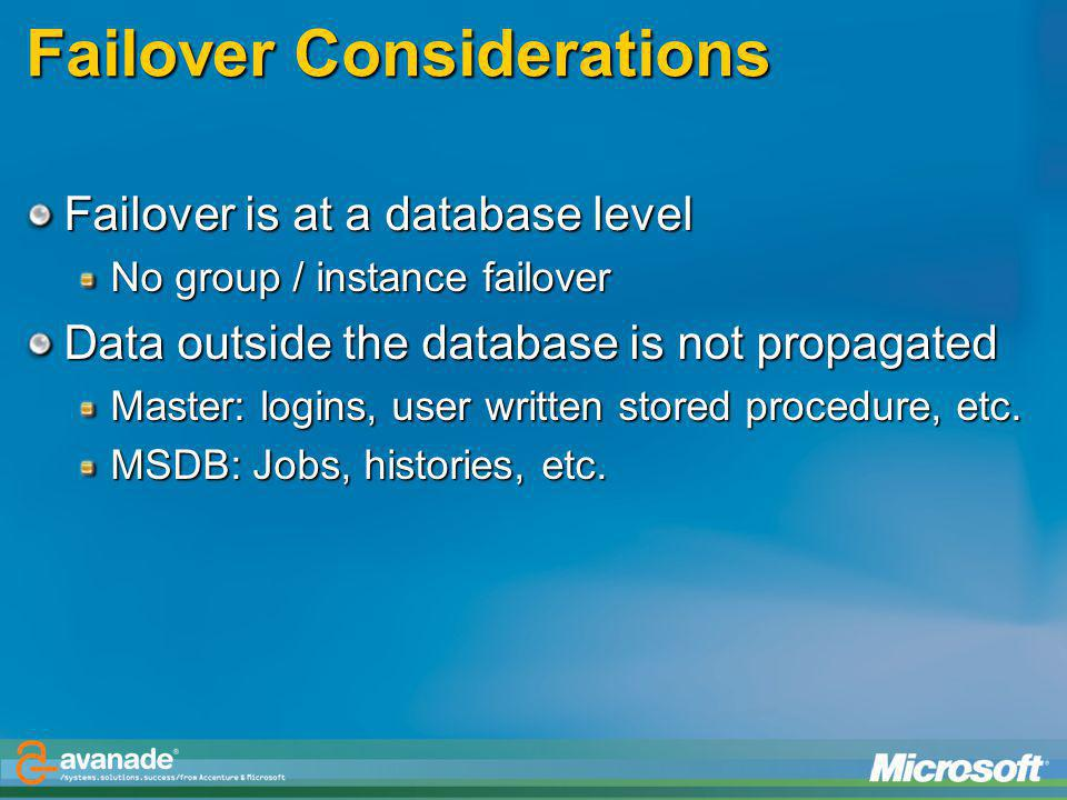 Failover Considerations