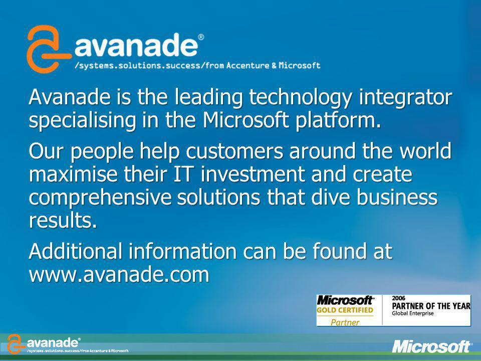 Additional information can be found at www.avanade.com