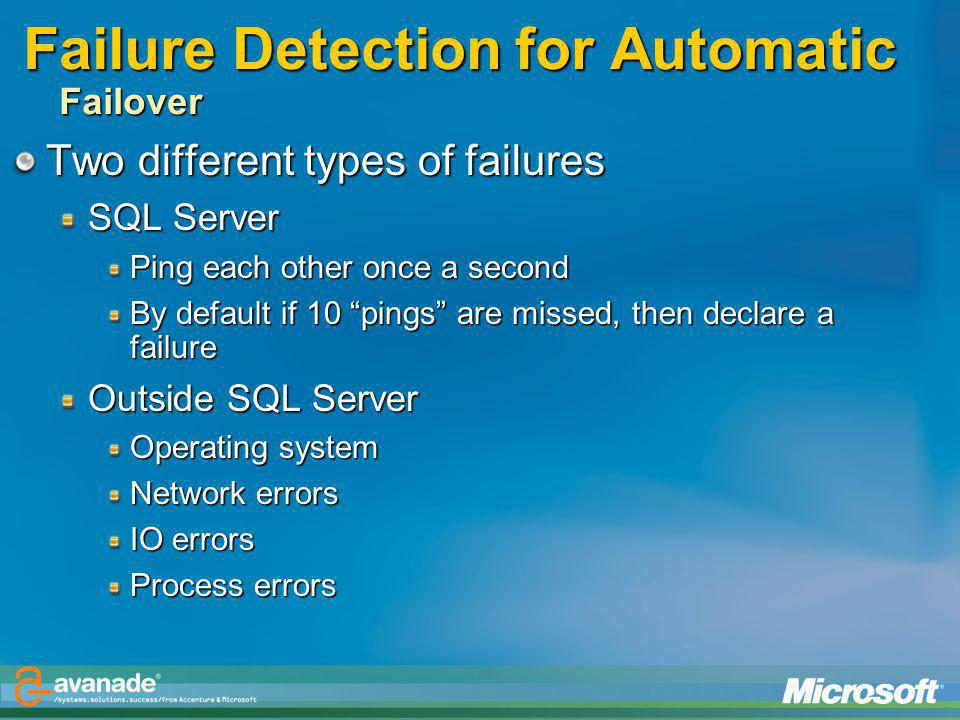 Failure Detection for Automatic Failover