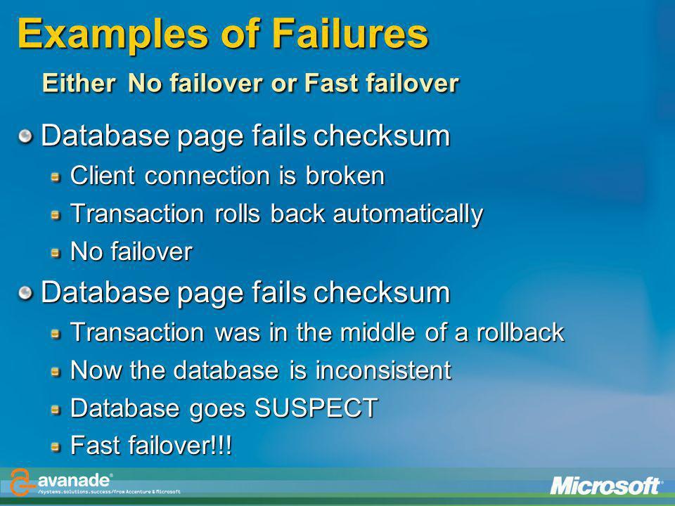 Examples of Failures Either No failover or Fast failover
