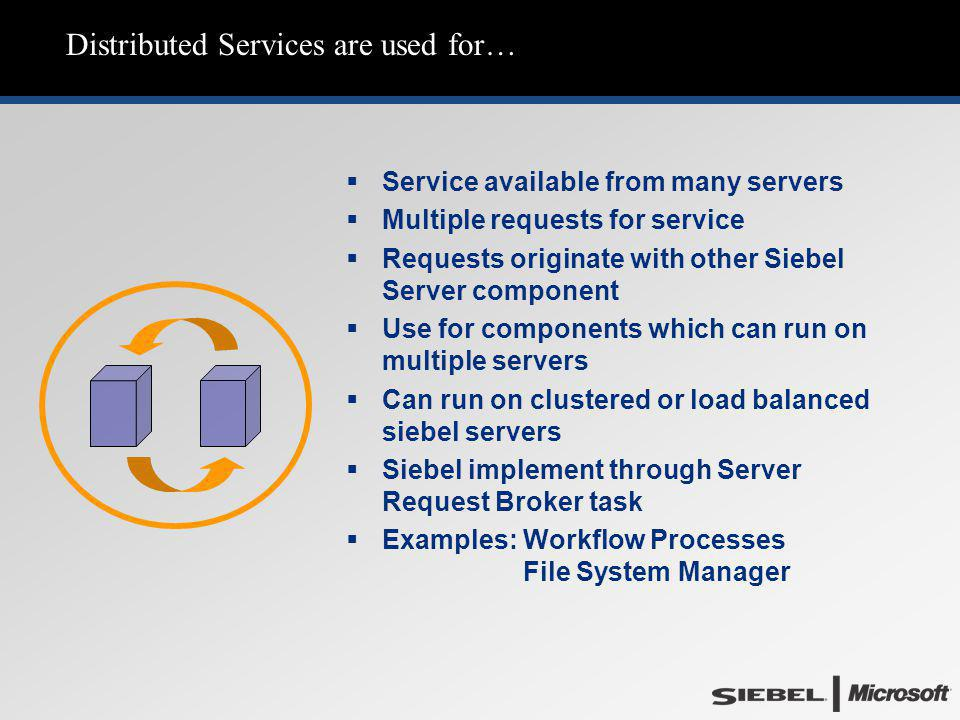 Distributed Services are used for…