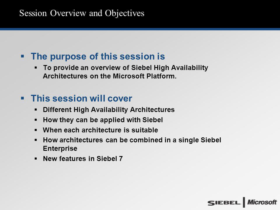 Session Overview and Objectives