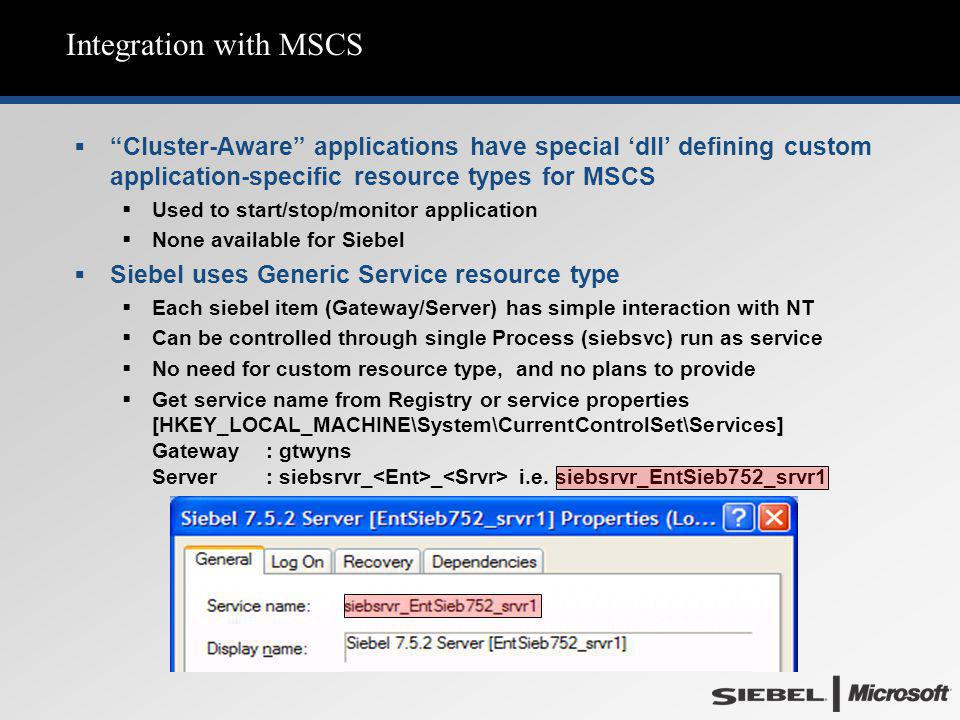 Integration with MSCS Cluster-Aware applications have special 'dll' defining custom application-specific resource types for MSCS.