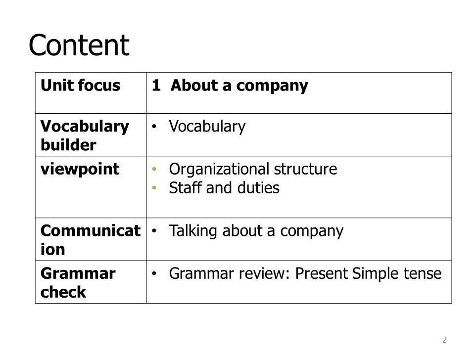 Content Unit focus 1 About a company Vocabulary builder Vocabulary