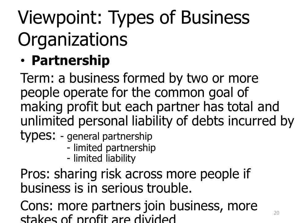 Viewpoint: Types of Business Organizations