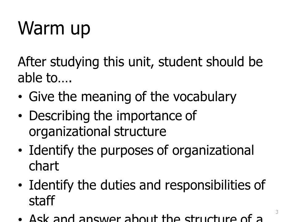 Warm up After studying this unit, student should be able to….