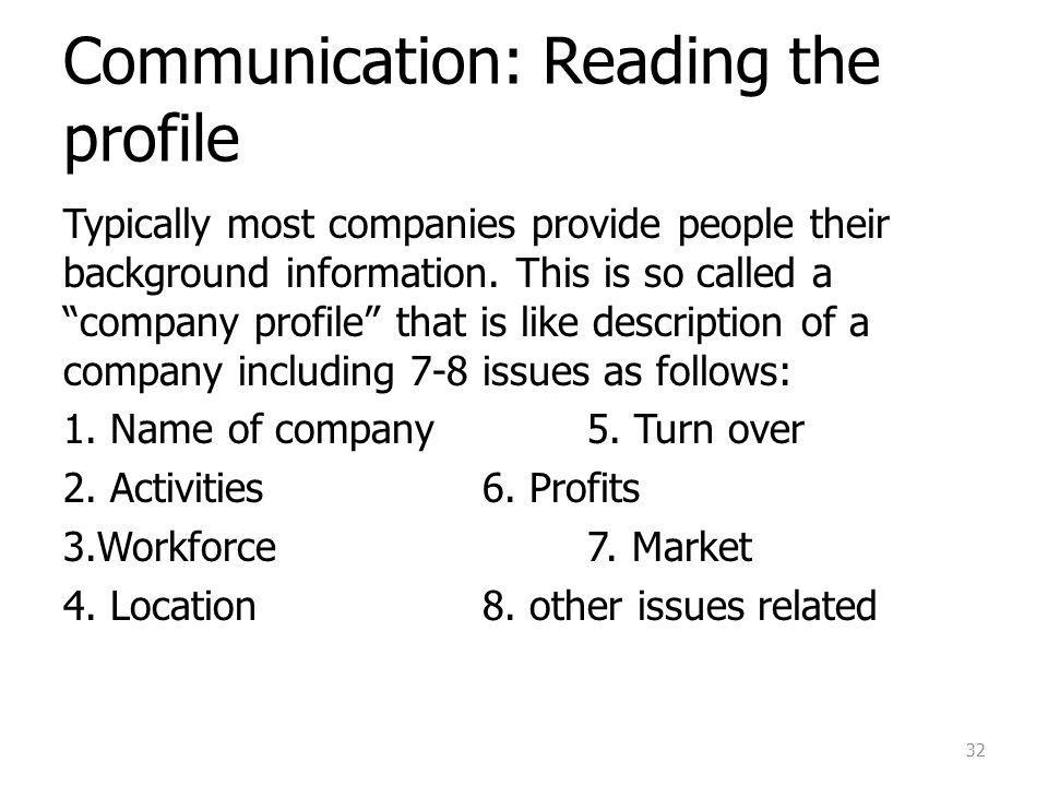 Communication: Reading the profile