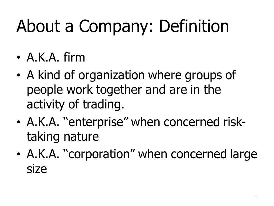 About a Company: Definition