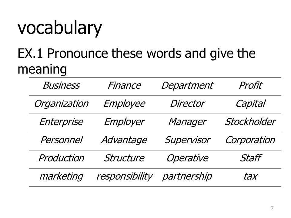 vocabulary EX.1 Pronounce these words and give the meaning Business