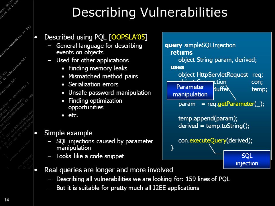 Describing Vulnerabilities