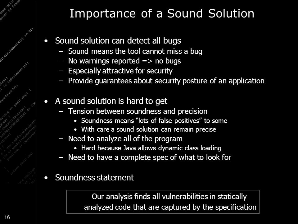 Importance of a Sound Solution