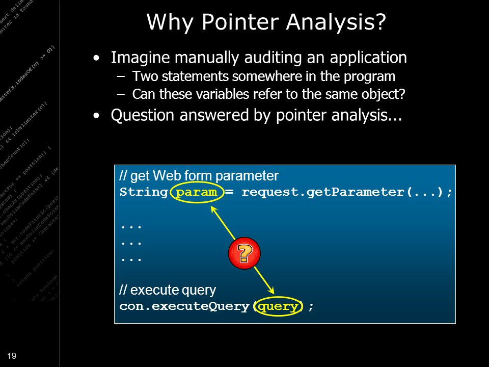 Why Pointer Analysis Imagine manually auditing an application