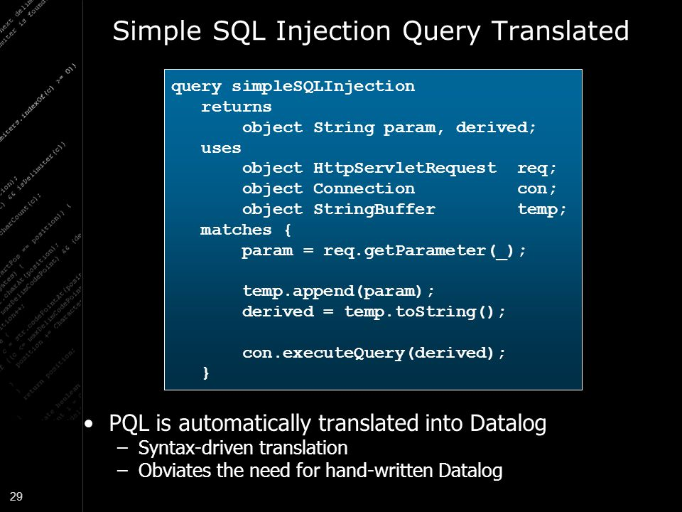 Simple SQL Injection Query Translated