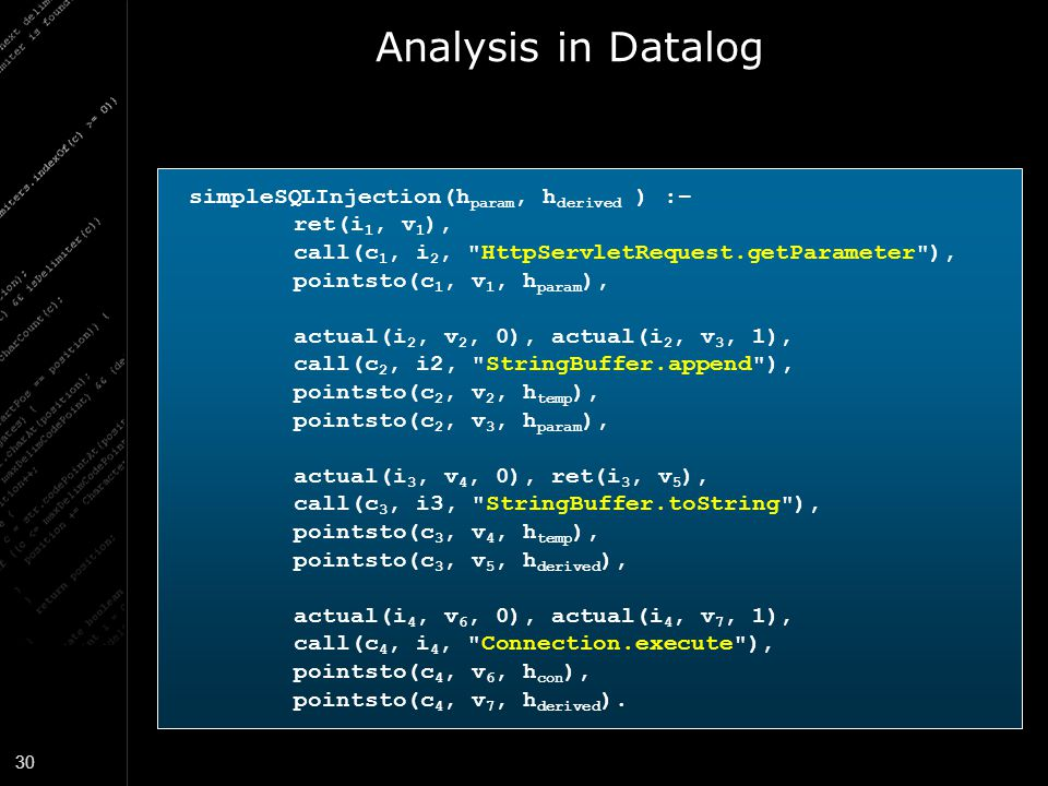 Analysis in Datalog simpleSQLInjection(hparam, hderived ) :–