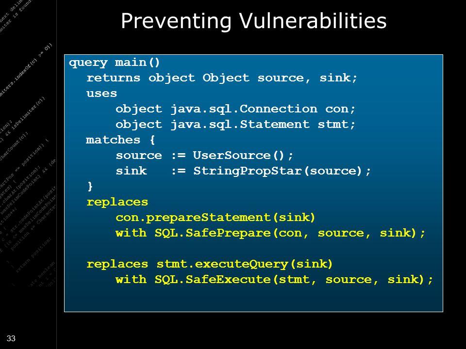 Preventing Vulnerabilities