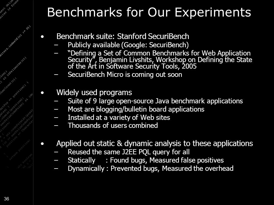 Benchmarks for Our Experiments