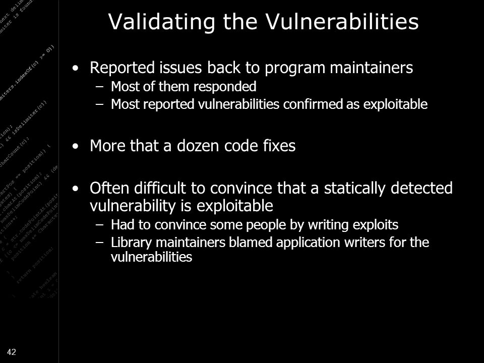 Validating the Vulnerabilities