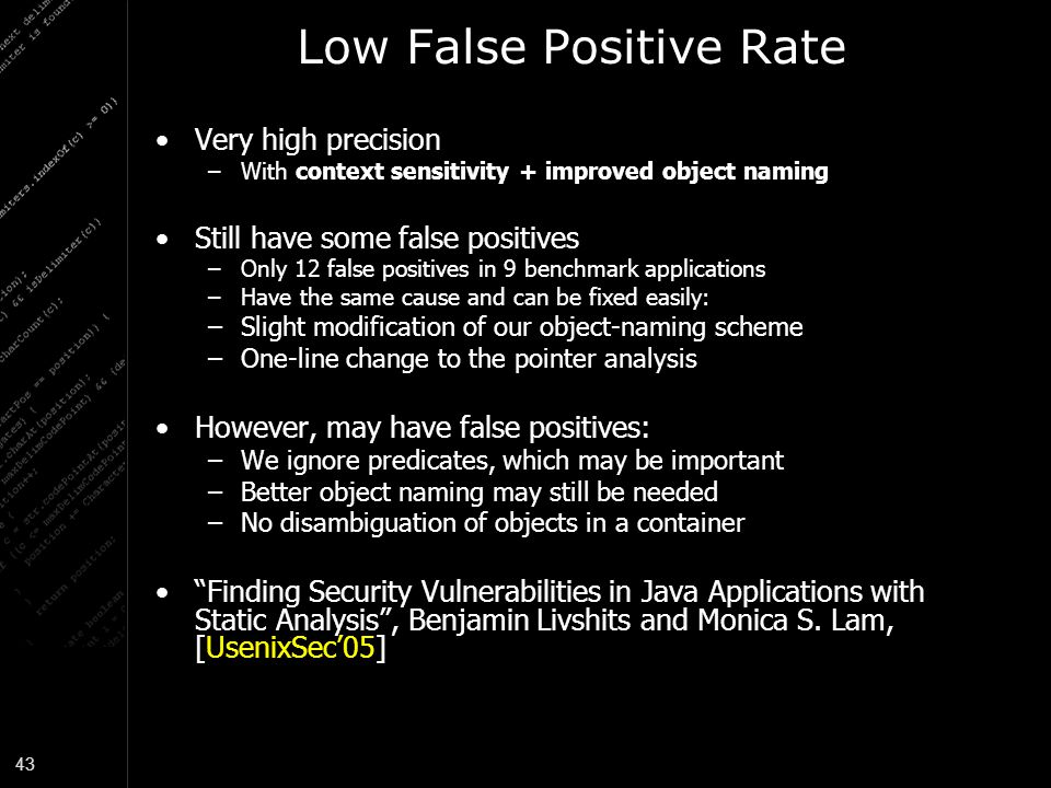 Low False Positive Rate