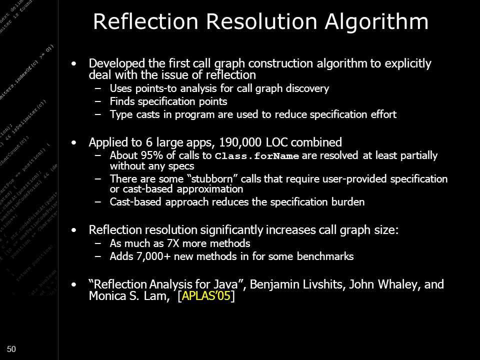 Reflection Resolution Algorithm