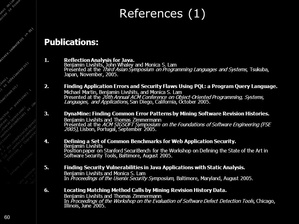 References (1) Publications: