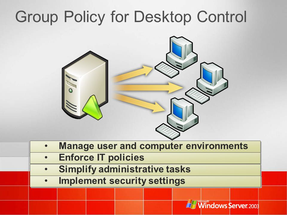 Group Policy for Desktop Control