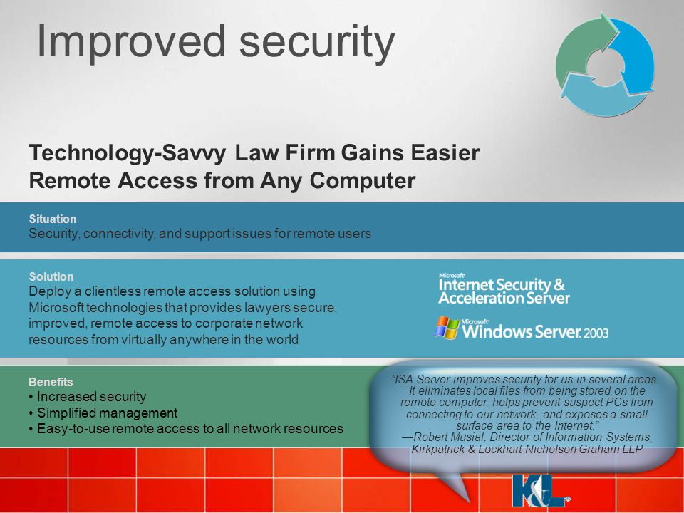 4/6/2017 11:37 AM 4/6/2017 11:37 AM. Improved security. Technology-Savvy Law Firm Gains Easier Remote Access from Any Computer.