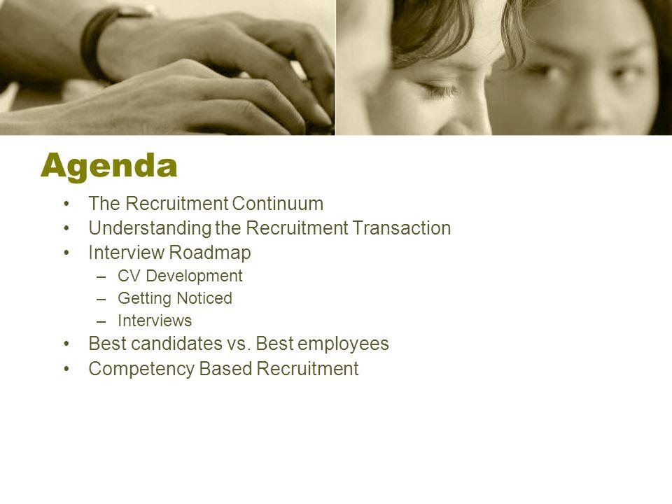 Agenda The Recruitment Continuum