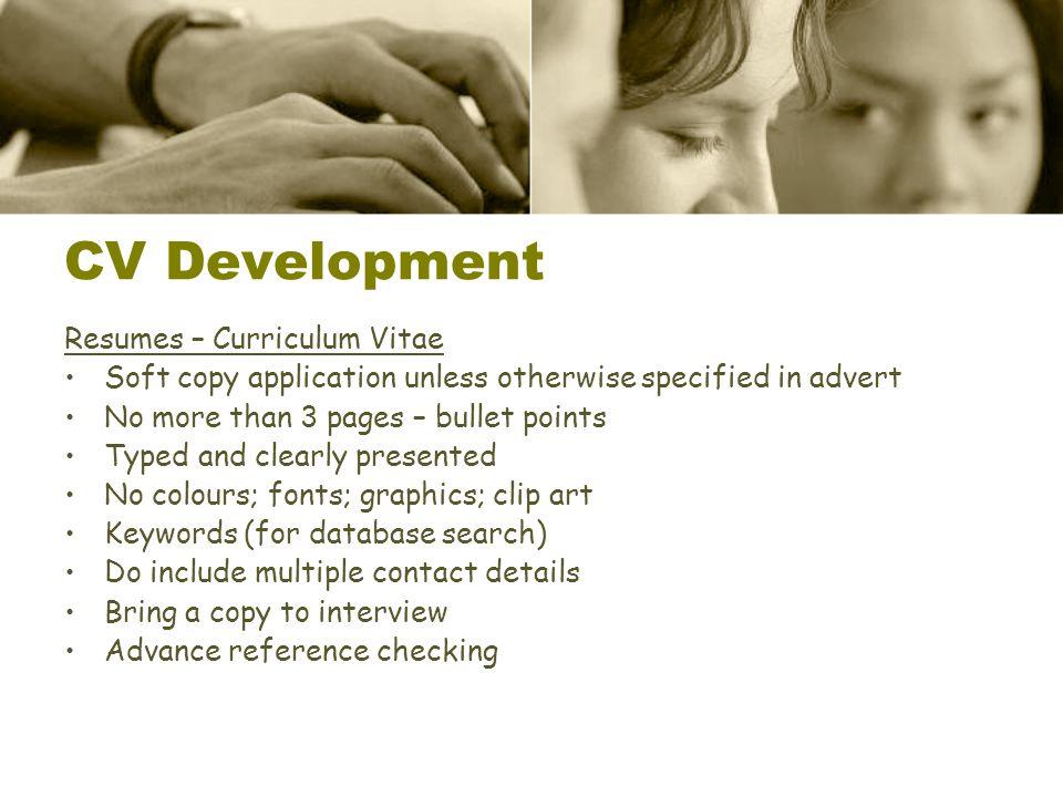 CV Development Resumes – Curriculum Vitae