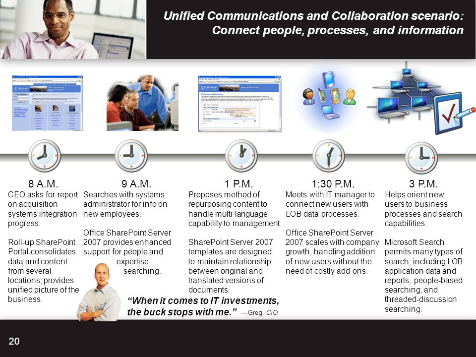 Unified Communications and Collaboration scenario: Connect people, processes, and information