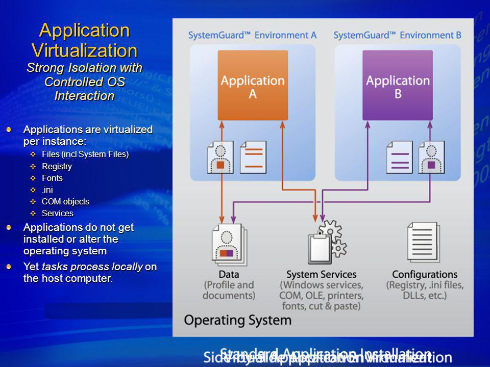 4/6/2017 11:37 AM Application Virtualization Strong Isolation with Controlled OS Interaction. Applications are virtualized per instance: