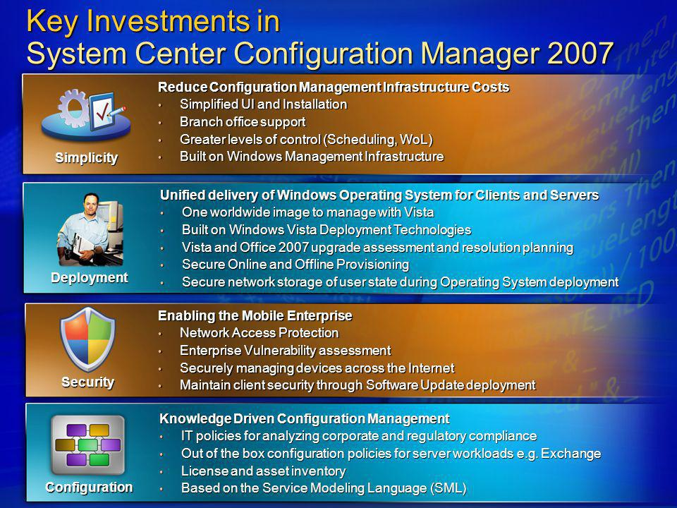 Key Investments in System Center Configuration Manager 2007