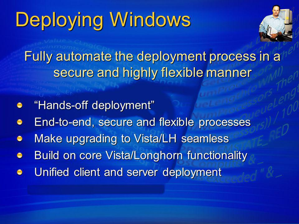 4/6/2017 11:37 AM Deploying Windows. Fully automate the deployment process in a secure and highly flexible manner.
