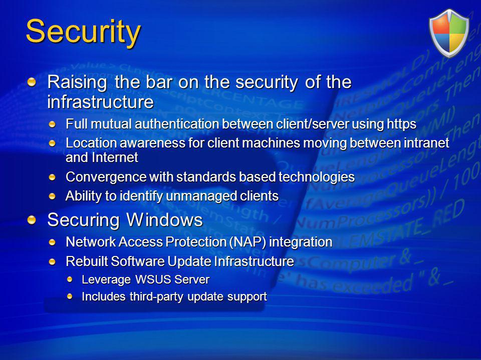 Security Raising the bar on the security of the infrastructure