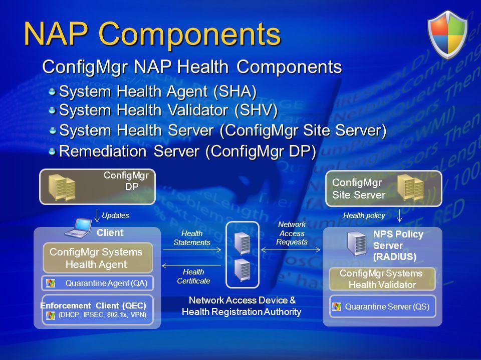 NAP Components ConfigMgr NAP Health Components