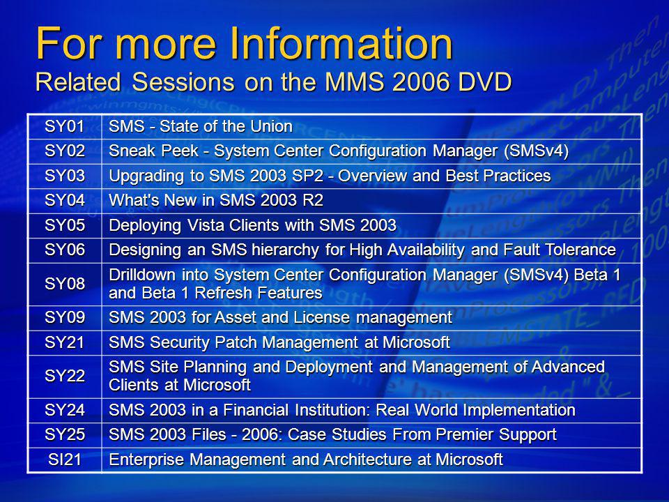 For more Information Related Sessions on the MMS 2006 DVD
