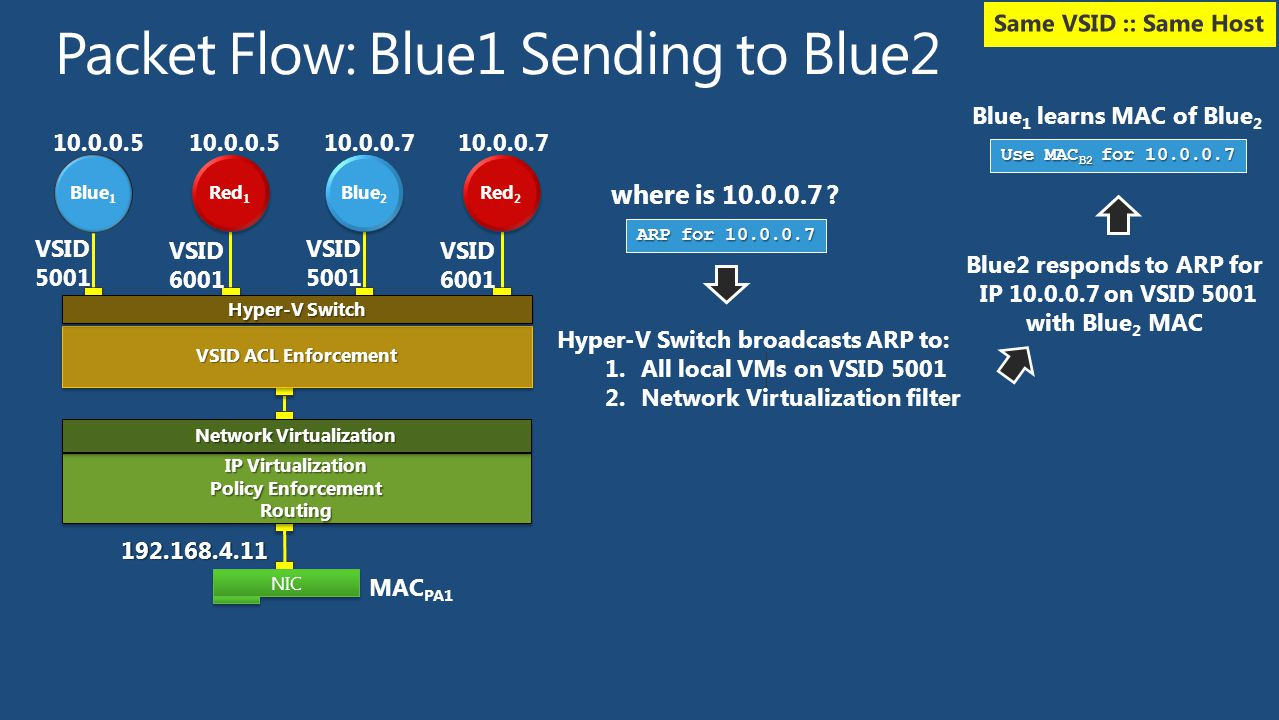 Packet Flow: Blue1 Sending to Blue2