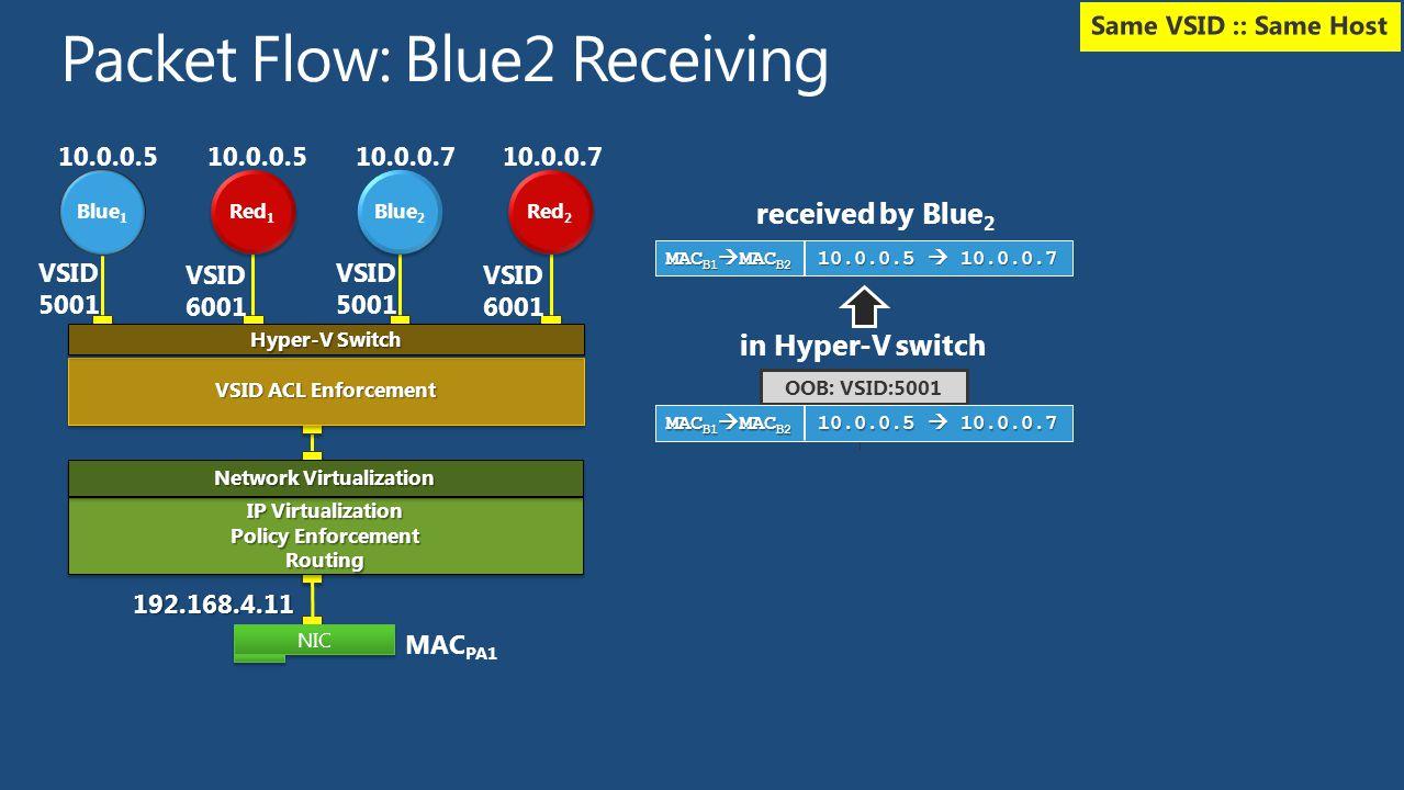 Packet Flow: Blue2 Receiving
