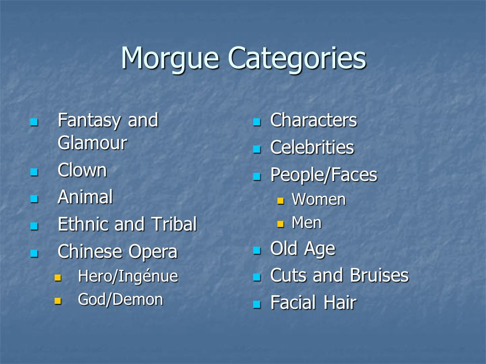 Morgue Categories Fantasy and Glamour Clown Animal Ethnic and Tribal