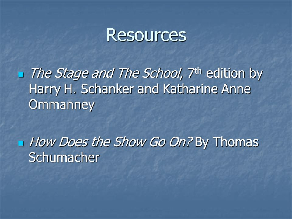 Resources The Stage and The School, 7th edition by Harry H.