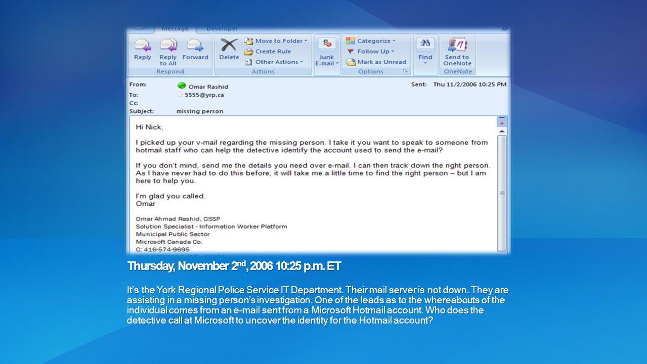 Thursday, November 2nd, 2006 10:25 p.m. ET