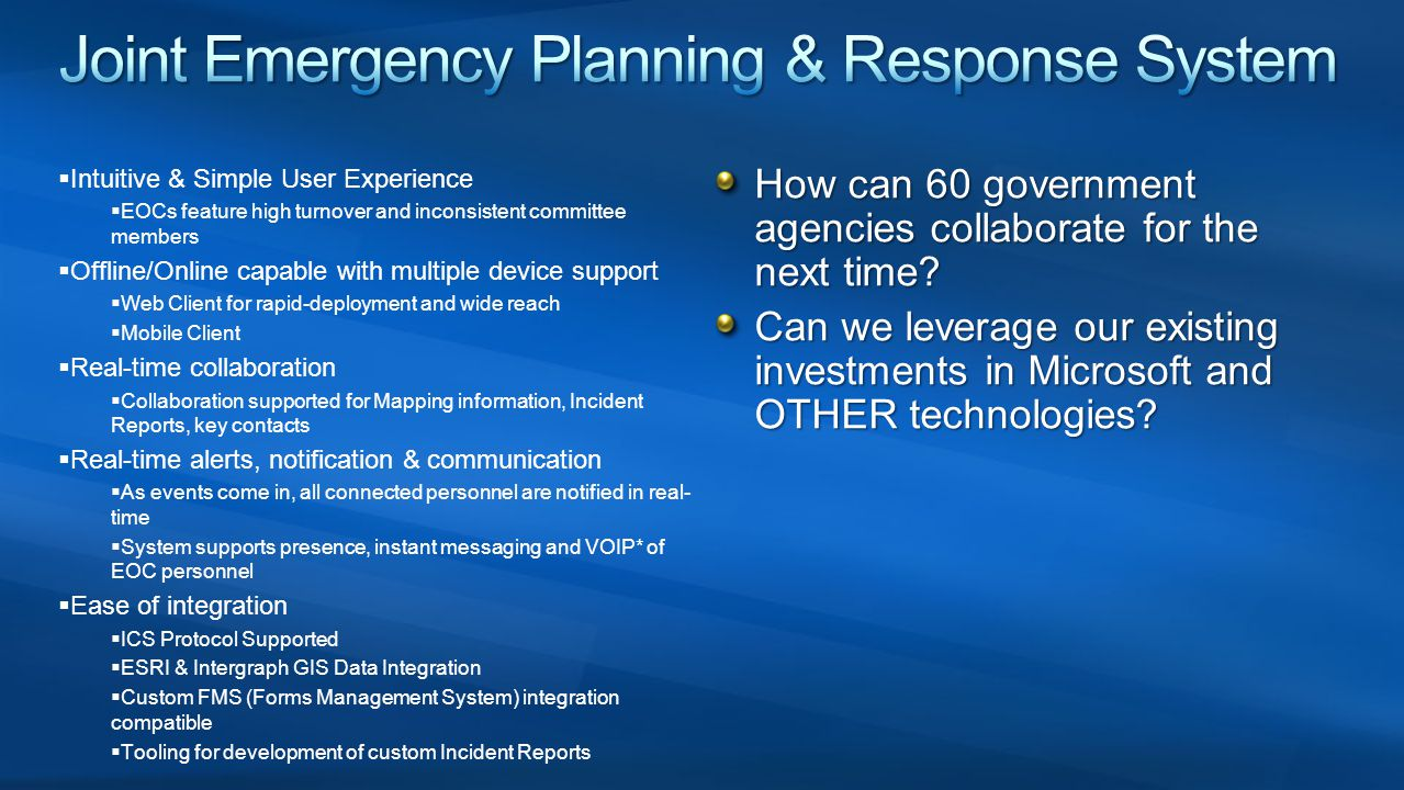 Joint Emergency Planning & Response System